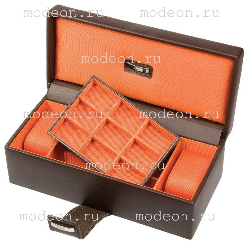 Шкатулка для хранения часов и запонок Бристоль, оранж