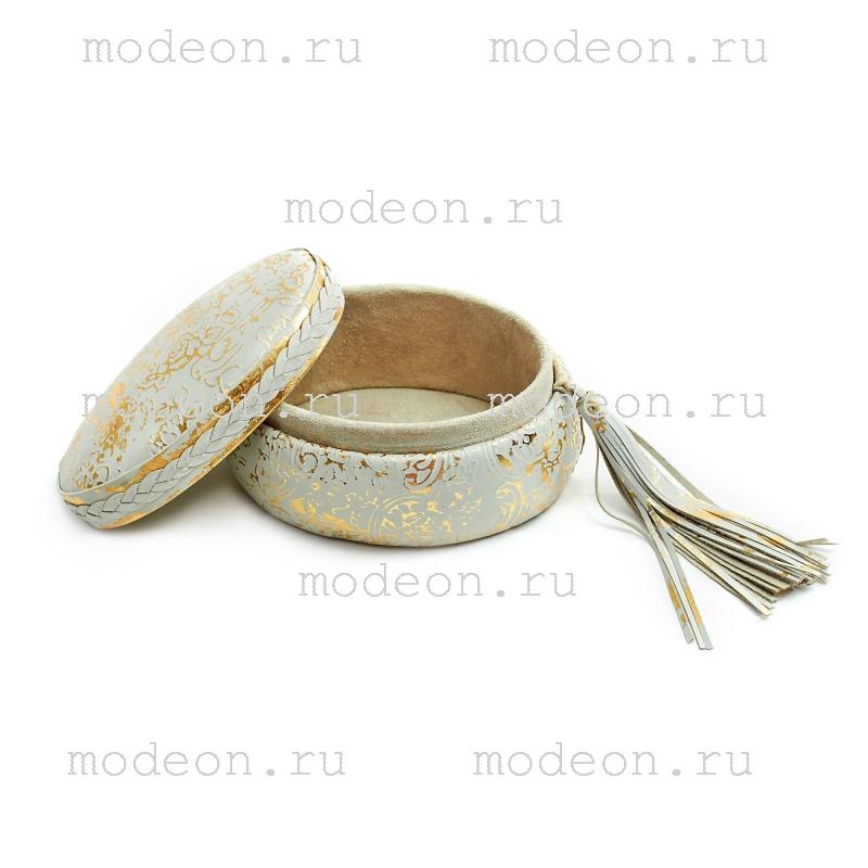 Круглая шкатулка из кожи для украшений Белое золото