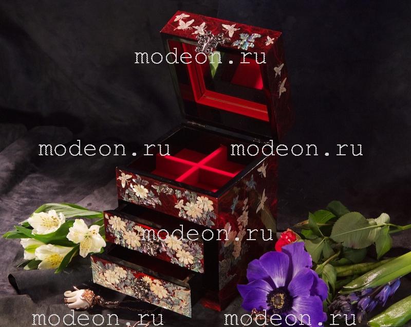 Комод из перламутра Цветы и журавли, красная
