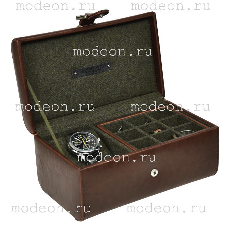Шкатулка для хранения часов и запонок Огилви, коньяк