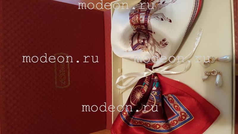Подарочный набор на 8 Марта Платок и серьги, красный