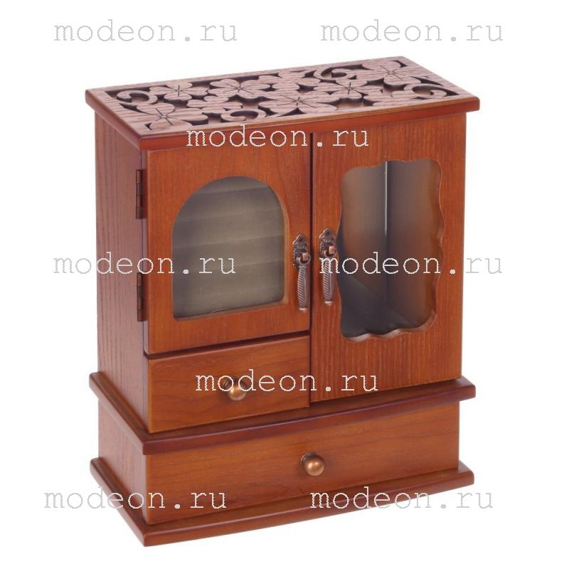 Деревянная шкатулка для ювелирных украшений Теремок, малый