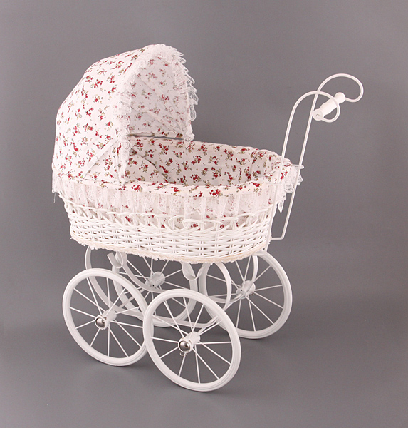 Плетеная ретро коляска для куклы Цветочная поляна, hr-57см