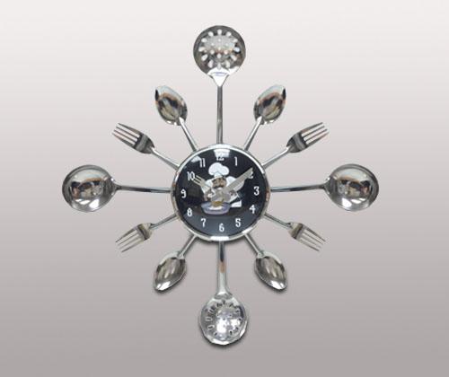 Кухонные часы Вилки-ложки, черные с поваренком